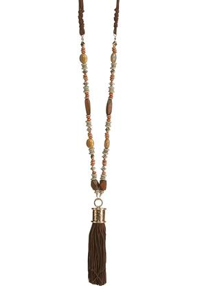 Tassel Pendant Beaded Cord Necklace