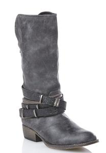 Wide Width Embossed Strap Distressed Western Boots