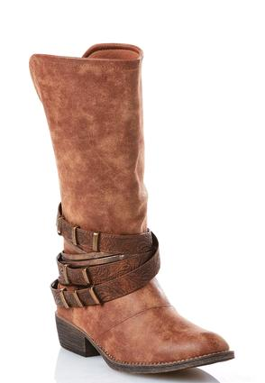 Embossed Strap Distressed Western Boots