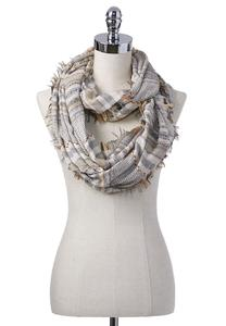 Striped Mixed Weave Infinity Scarf