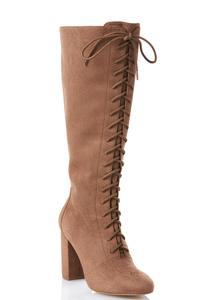 Lace Up Block Heel Tall Boots