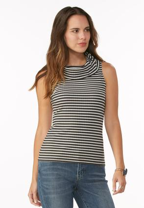 Striped Cowl Neck Ribbed Tank