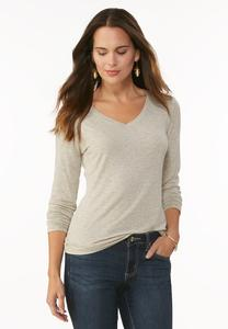 Metallic V- Neck Tee- Plus