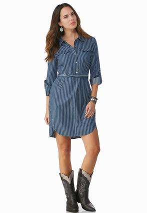 Belted Pinstriped Chambray Shirt Dress