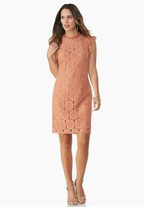 Lace Mock Neck Sheath Dress