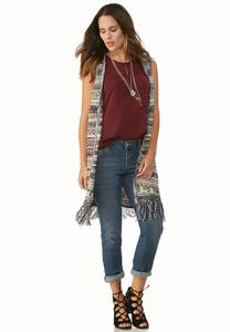 Marled Stripe Fringe Duster Vest-Plus