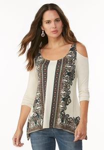 Placement Paisley Cold Shoulder Top- Plus