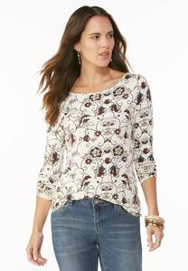 Floral Henna Print Top-Plus