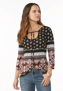 Tie Neck Border Print Top