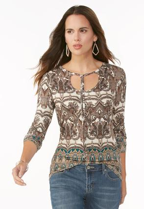 Bordered Scroll Tie Neck Top- Plus