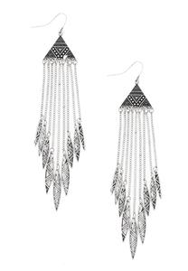 Aztec Pyramid Feather Fringe Earrings