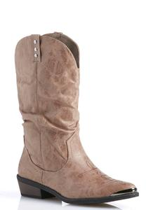 Wide Width Scrunched Western Boots