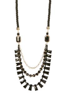 Layered Bead Twisted Cord Necklace