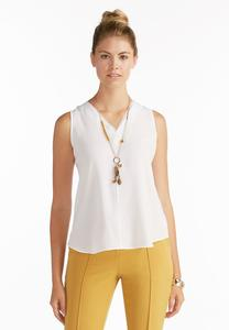 Sheer Trim High- Low Tank- Plus