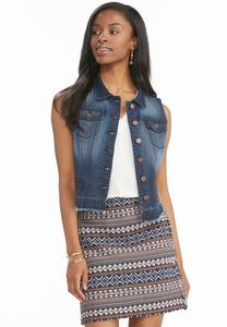 Frayed Release Hem Denim Vest-Plus