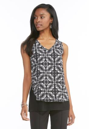 Graphic Cutout Layered Tank