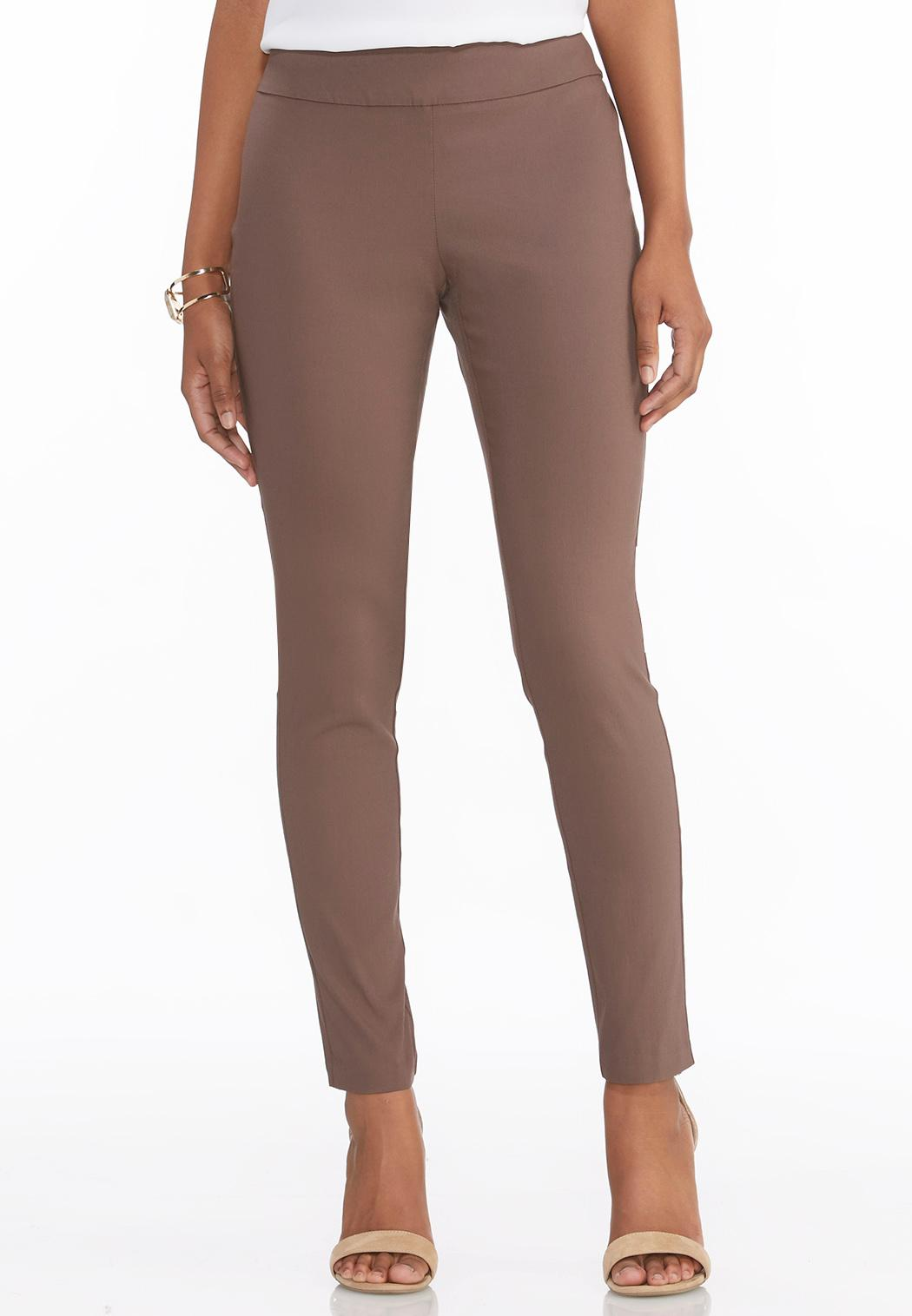 Description & Details. Chic, slim-leg pants in one of our favorite fabrics. Antiqued bronze snap plackets at the hem, elongating front and back piecing seams, slant pockets and a comfy, elastic waistband.