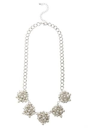 Cluster Pearl Disc Bib Necklace