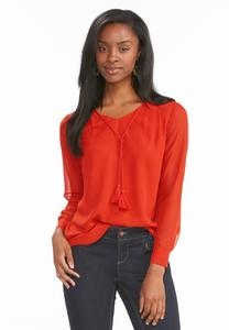Sheer Sleeve Tie Neck Poet Top