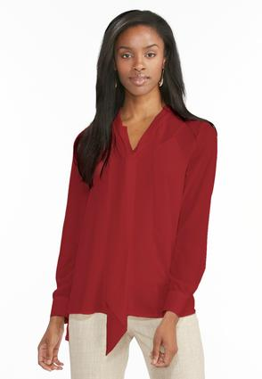 High- Low Bow Blouse- Plus