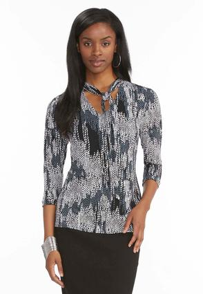 Abstract Leaf Tie Neck Top- Plus