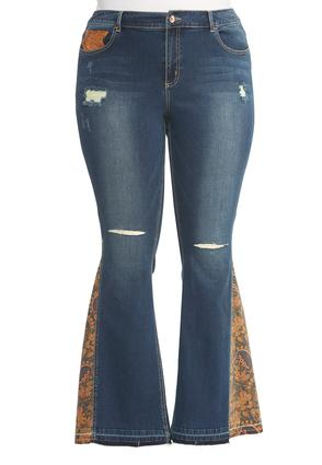 Paisley Inset Distressed Flare Jeans- Plus