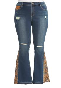 Paisley Inset Distressed Flare Jeans-Plus