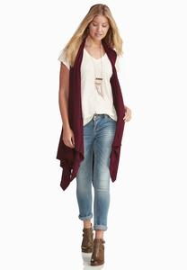 Diamond Knit Back Duster Vest- Plus