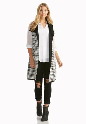 Birds Eye Knit Draped Sweater Vest