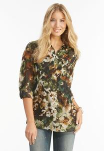 Camouflage Button Down Shirt-Plus