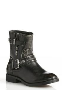 Double Buckle Moto Boots