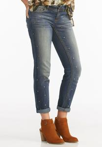 Stud Front Girlfriend Jeans