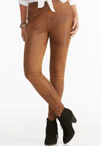 Pull-On Crackle Faux Leather Pants