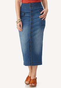 Button Front Midi Denim Skirt-Plus