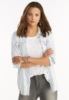Double Pocket Chambray Shirt- Plus