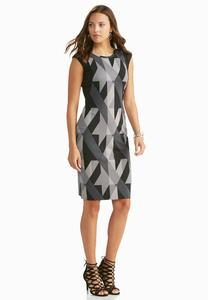 Mixed Geometric Ponte Sheath Dress-Plus