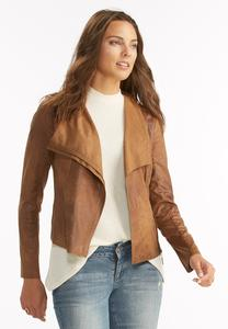 Crackle Faux Leather Asymmetrical Jacket-Plus