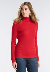 Ribbed Knit Turtleneck Sweater-Plus