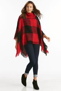 Buffalo Plaid Cowl Neck Poncho