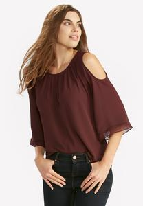 Georgette Trim Cold Shoulder Top