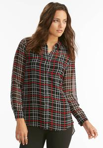 Graphic Windowpane Button Down Shirt-Plus
