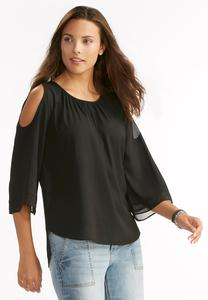 Georgette Trim Cold Shoulder Top-Plus