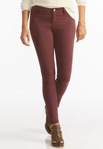 Colored Sateen Super Skinny Jeans- Petite