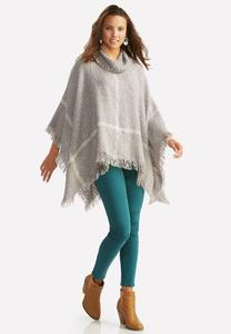 Windowpane Cowl Neck Poncho