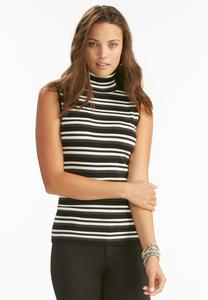 Striped Turtleneck Sweater Tank