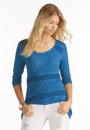Mesh Inset Space Dyed Top