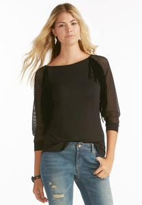 Mesh Sleeve Fringe Trim Top
