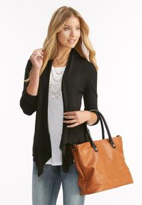 Cable Back Waterfall Cardigan-Plus