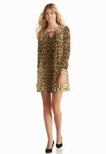 Leopard Cutout Trapeze Dress-Plus