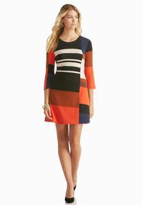 Whipstitch Neck Colorblock Sweater Dress
